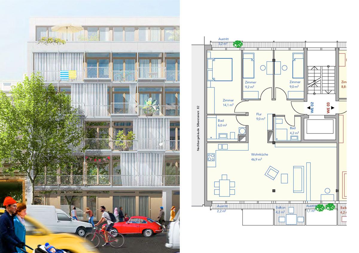 Baugemeinschaft Silber 80 - Ansicht und Grundriss Wohnung 02