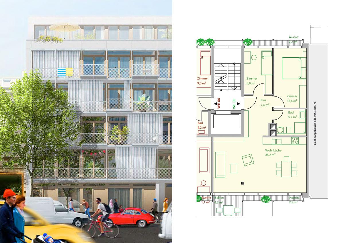 Baugemeinschaft Silber 80 - Ansicht und Grundriss Wohnung 05