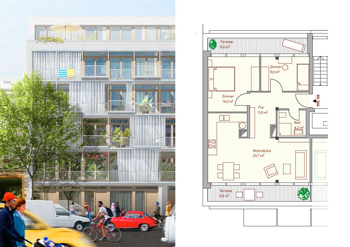 Baugemeinschaft Silber 80 - Ansicht und Grundriss Wohnung 08