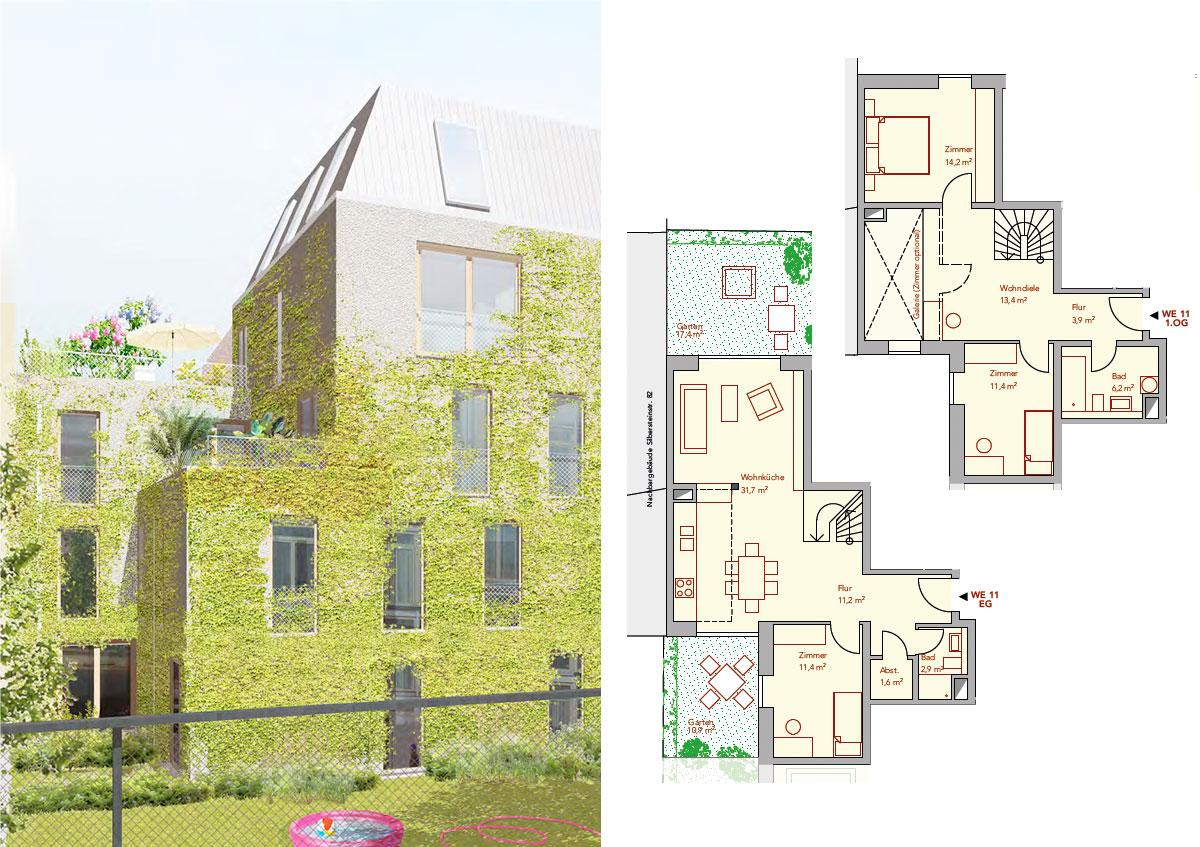 Baugemeinschaft Silber 80 - Ansicht und Grundriss Wohnung 11
