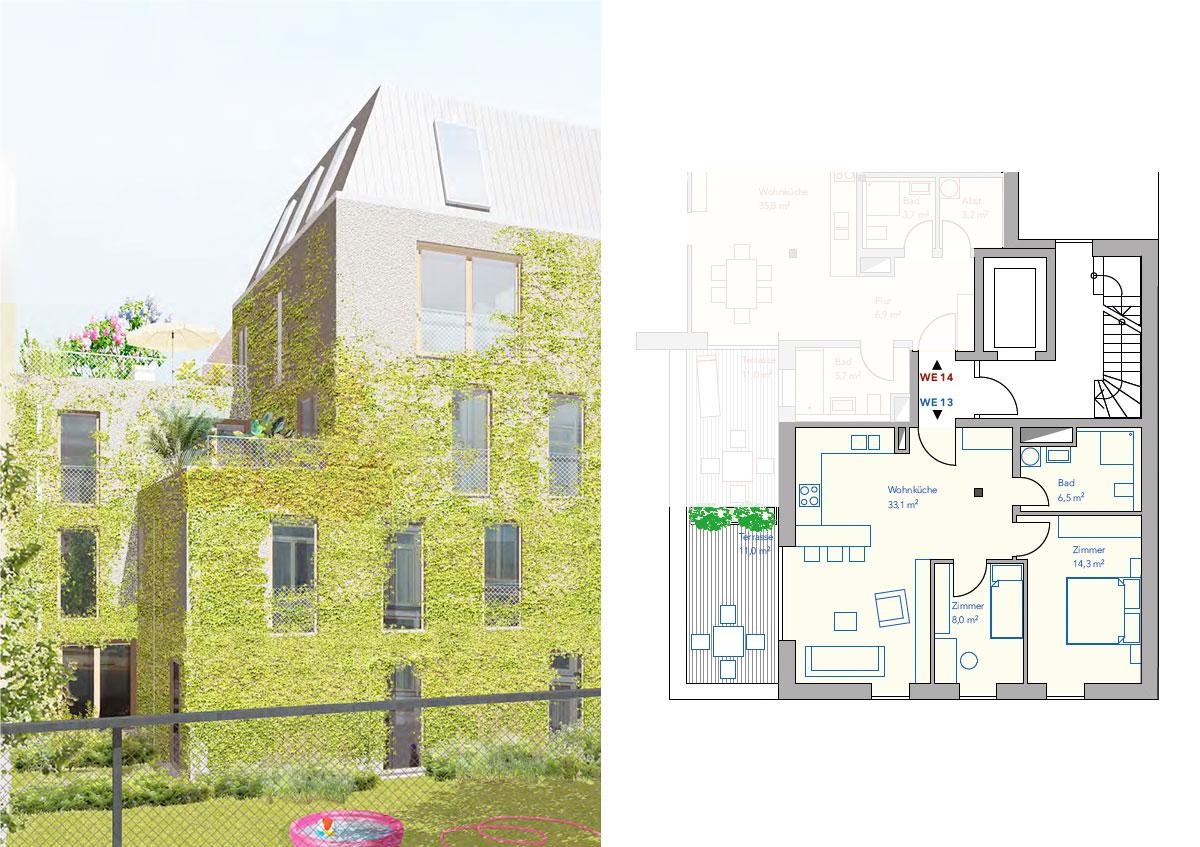 Baugemeinschaft Silber 80 - Ansicht und Grundriss Wohnung 13