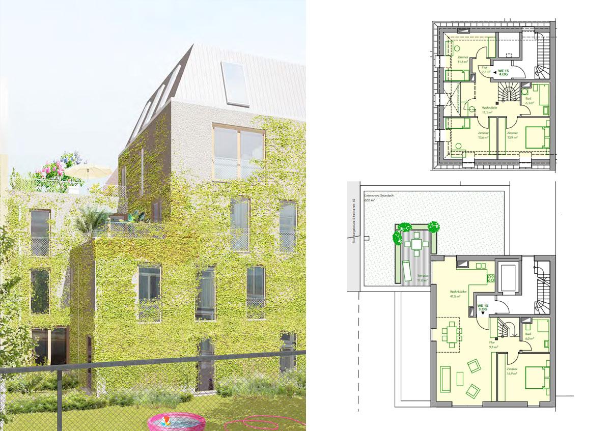 Baugemeinschaft Silber 80 - Ansicht und Grundriss Wohnung 15