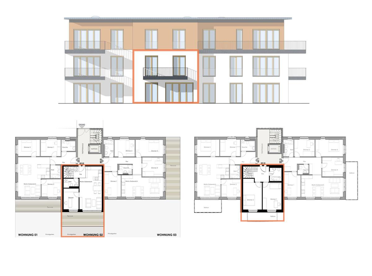 Bauherrengemeinschaft Kirch 63 - Ansicht und Grundriss Wohnung 02
