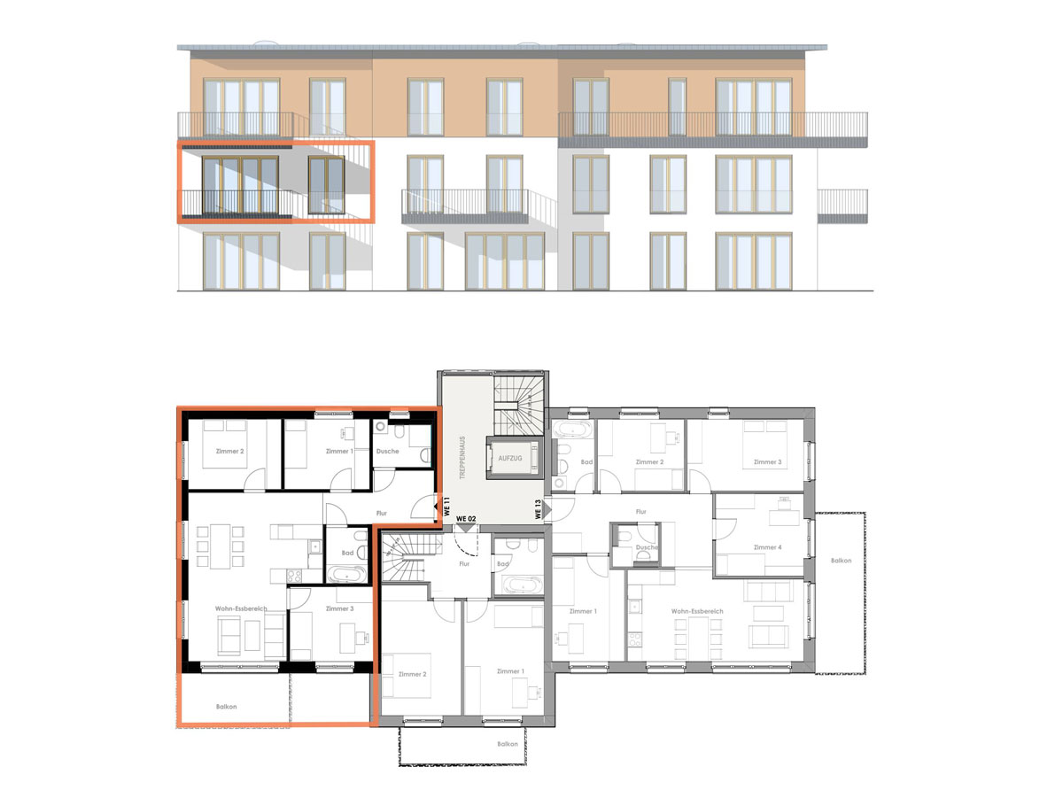 Bauherrengemeinschaft Kirch 63 - Ansicht und Grundriss Wohnung 11