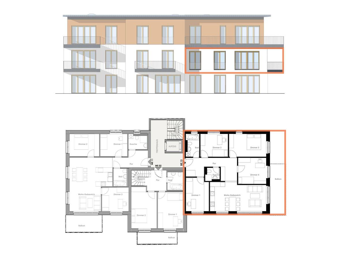 Bauherrengemeinschaft Kirch 63 - Ansicht und Grundriss Wohnung 13